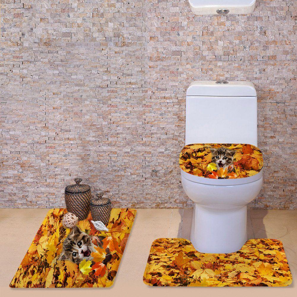 New 3pc Bathroom Set Includes 1 Bath Rug 1 Contour Mat 1 Toilet