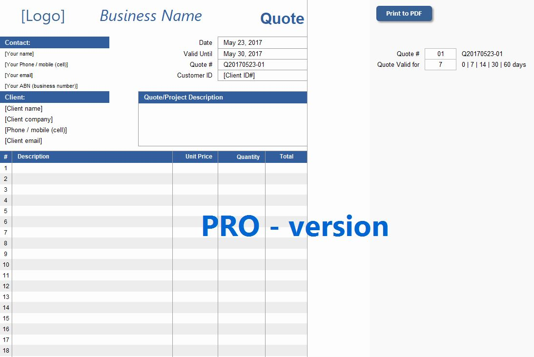 Proforma Invoice Template Pdf Awesome Quotation Template