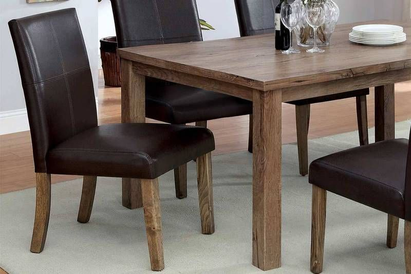 2 pc light oak wood dining parson chairs dark brown leather seat rh pinterest com