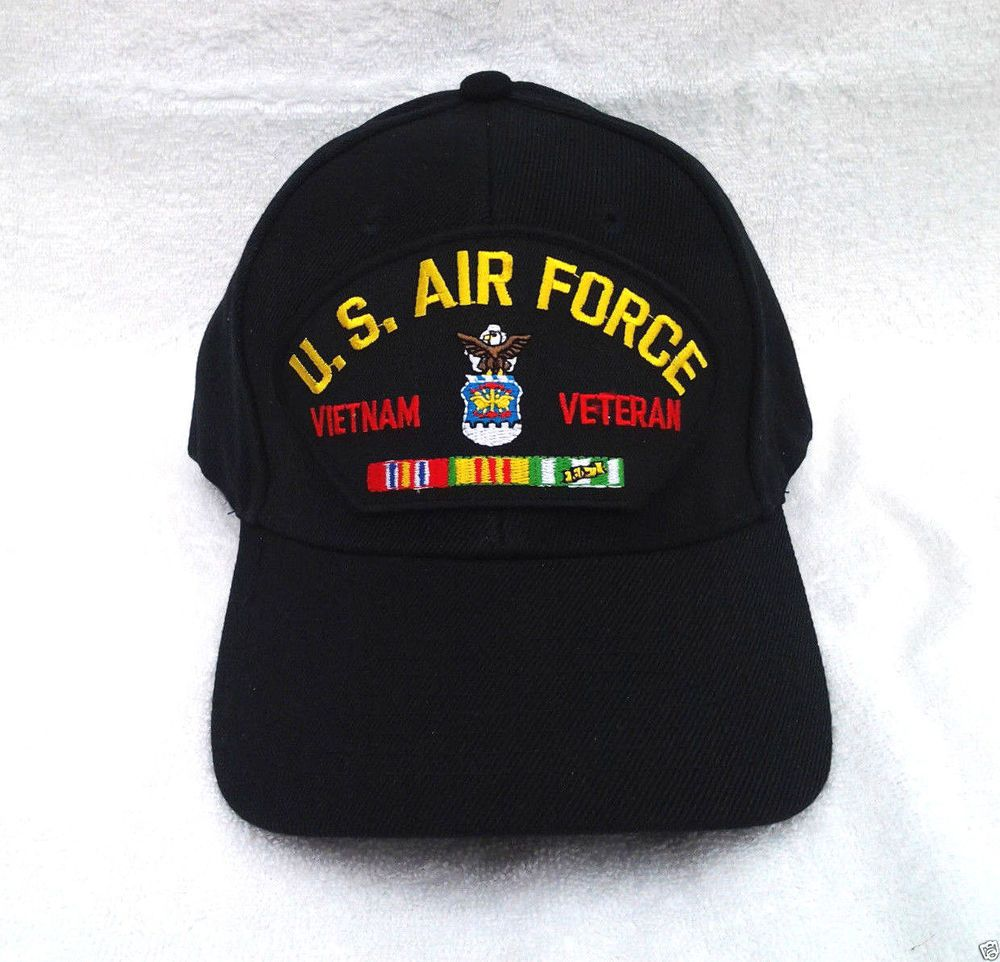 e2101cf9fd2 US AIR FORCE VIETNAM VETERAN (BLACK) Military Veteran Hat 446 VV   BaseballCap