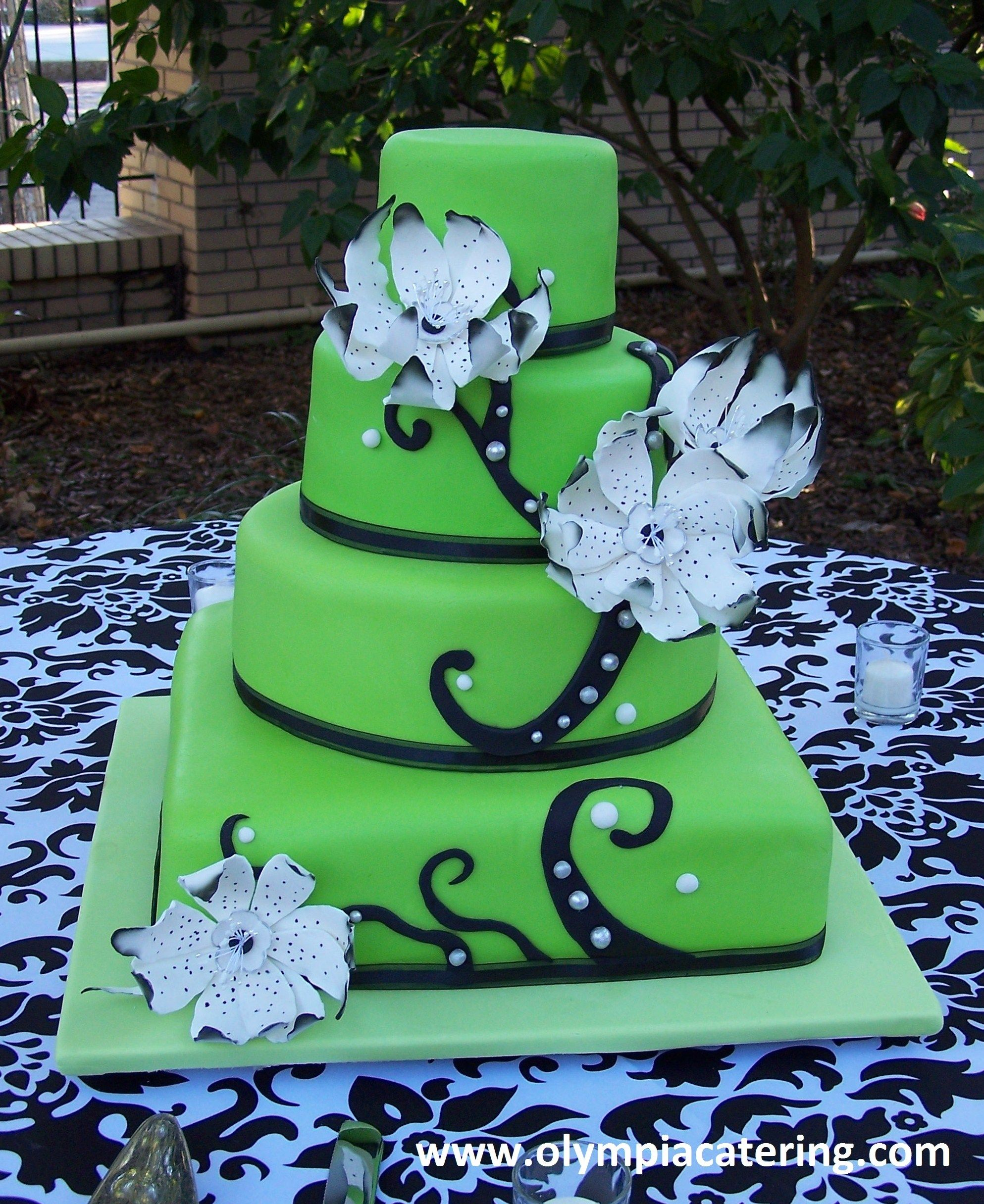 square black and white wedding cakes pictures%0A Round and Square Wedding Cake  Green Fondant with Black and White Details   Gumpaste Flowers
