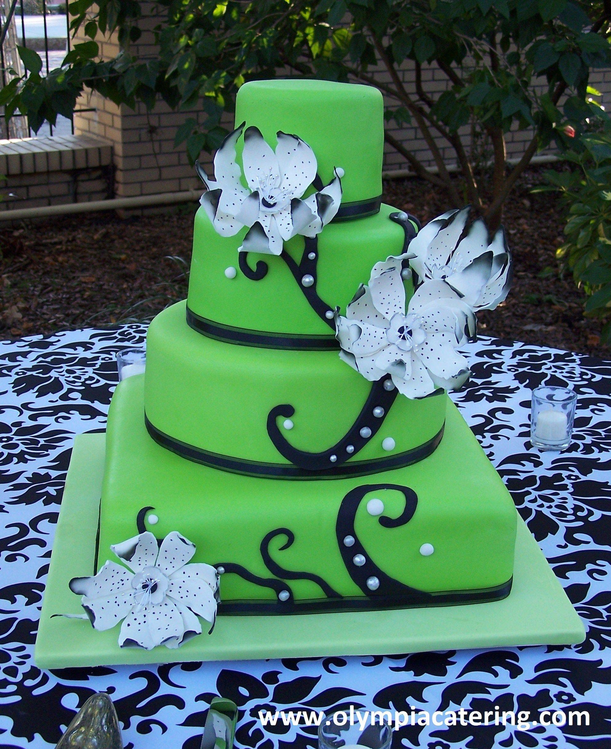 Round and Square Wedding Cake Green Fondant