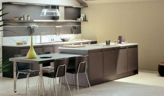 creative designs island with table attached in contemporary kitchen with ceramic floor kitchen sink. Interior Design Ideas. Home Design Ideas
