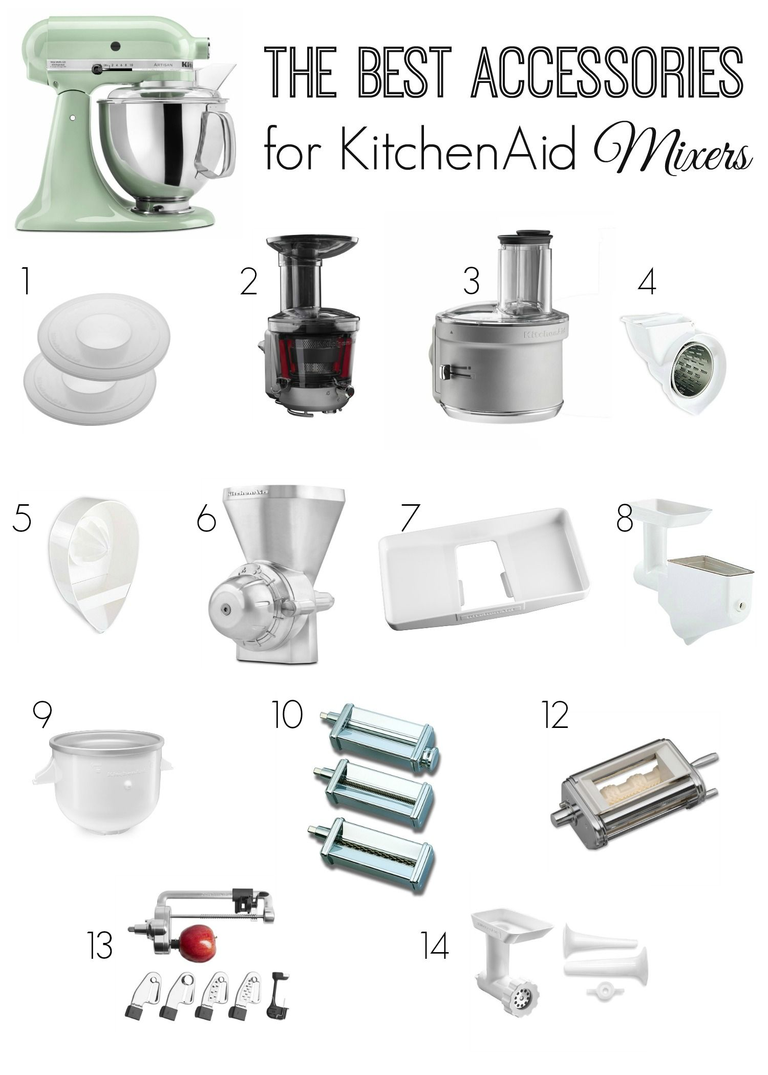Kitchenaid Mixers Accessories Some Of The Best To Transform Your Mixer Into A Pasta Maker Sausage Stuffer Spiralizer Juicer And More