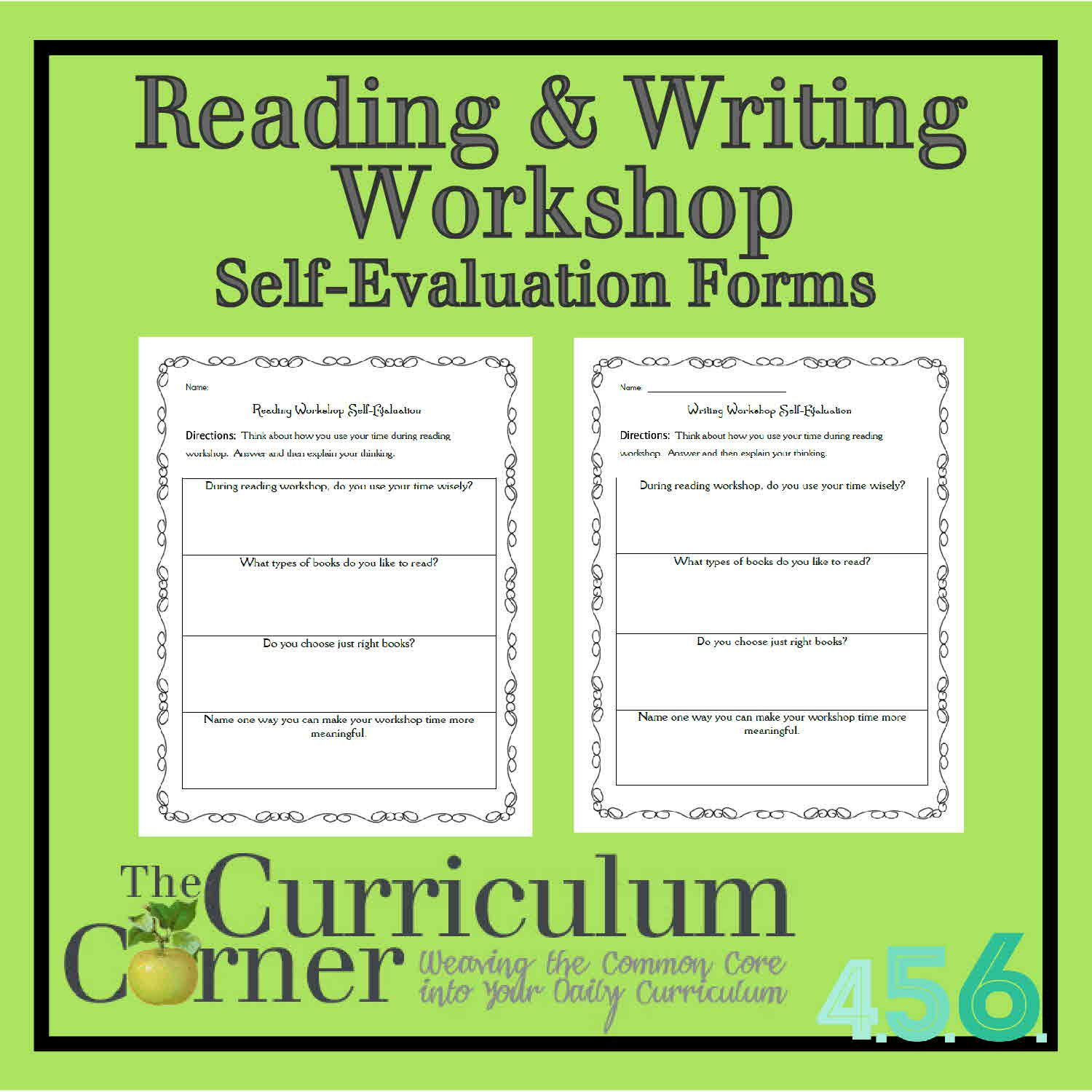 Reading  Writing Workshop Self Evaluation Forms  Reading