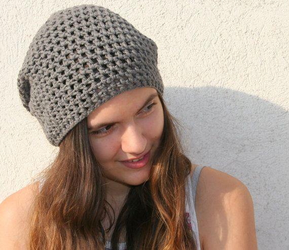 Crochet hat, Womens mens hat, Slouchy beanie, Cotton hat / EllenaKnits crochet hats