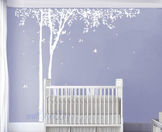 Baum Wandtattoo Baum und Vögel Wand Wandbild weiß von ...