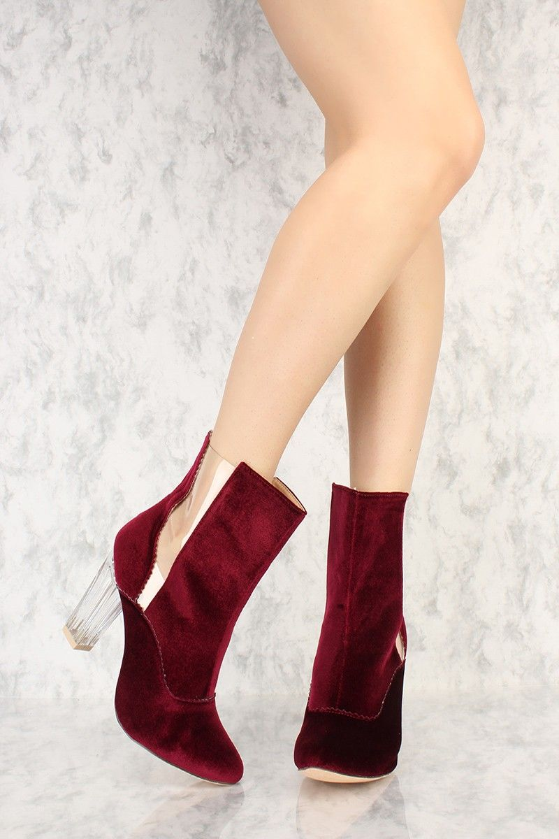 482ab178429 Burgundy Pointy Toe Clear Detail Chunky Heel Booties Faux Velvet