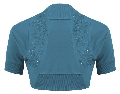 New Womens Ladies Short Sleeve Beaded Embellished Open Bolero Cardigan Shrug Top - TEAL - UK 8/10(S/M) - (100% Cotton) OutofGas Clothing http://www.amazon.com/dp/B00IXK1R88/ref=cm_sw_r_pi_dp_yqlPtb0NA7BSTDHZ