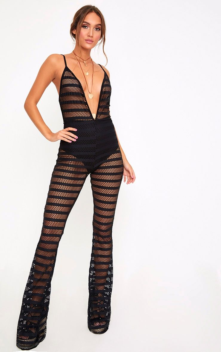 8a79852175 Black Knitted Plunge Wide Leg Jumpsuit