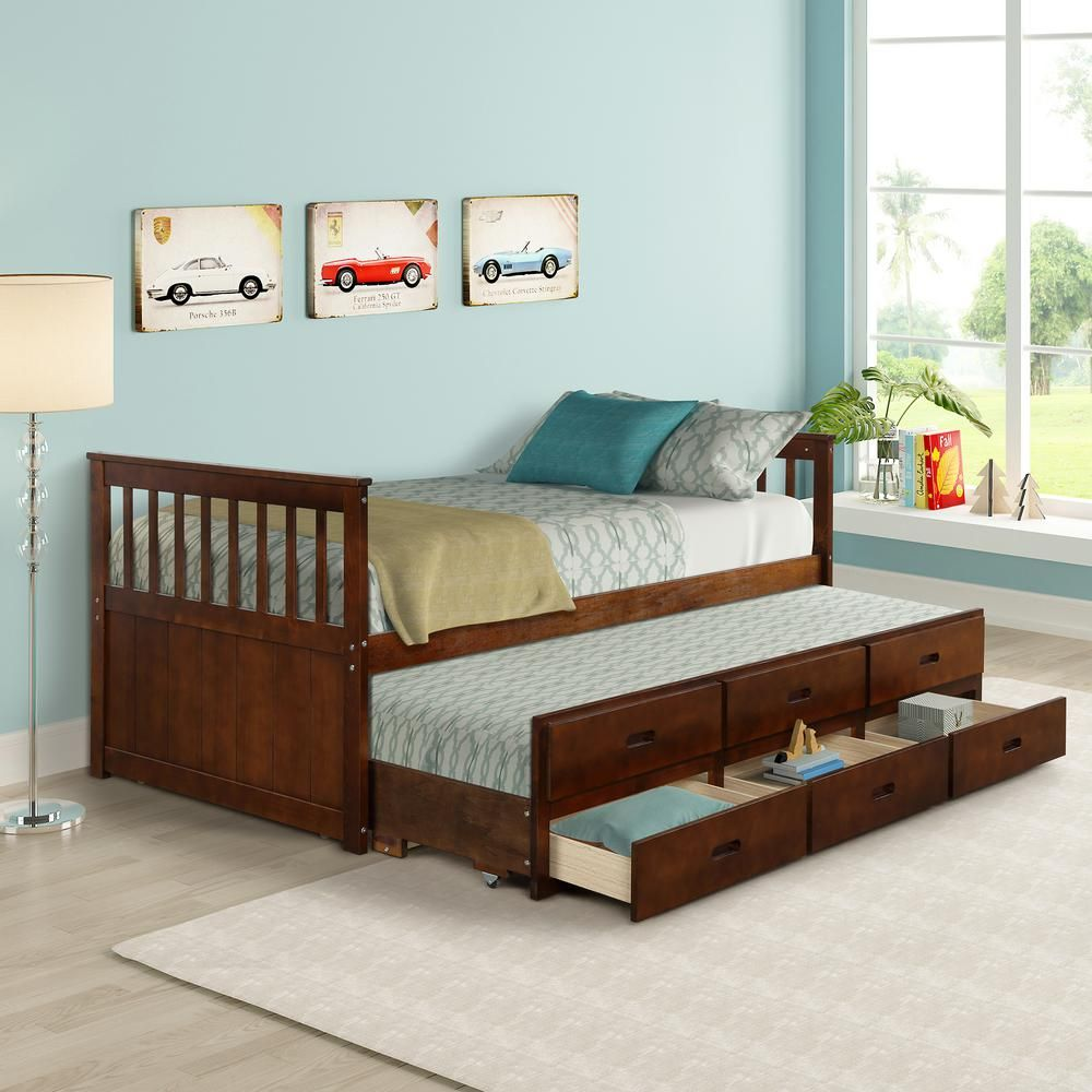 Harper Bright Designs Walnut Twin Size Solid Wood Bed With