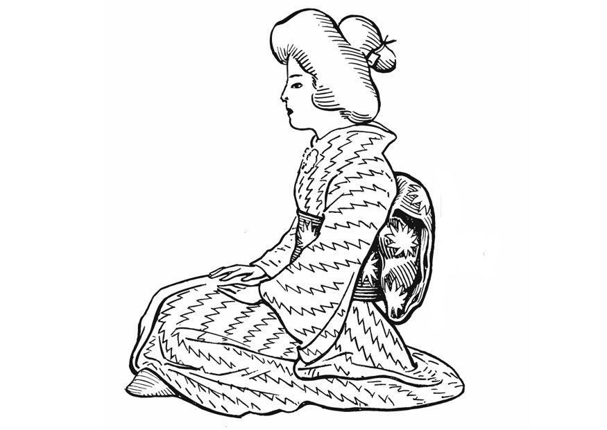 kleurplaat japanse vrouw traditioneel gewaad afb 13228