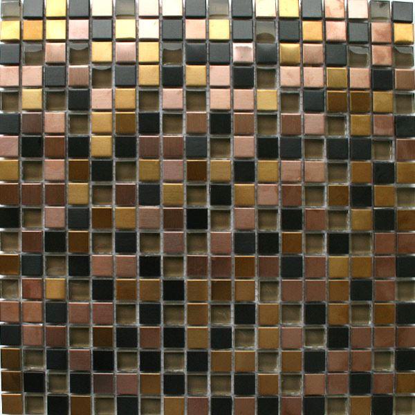 Glas Edelstahl Metall Mosaik Fliesen Schwarz Gold Bronze Mix - Mosaik fliesen schwarz matt