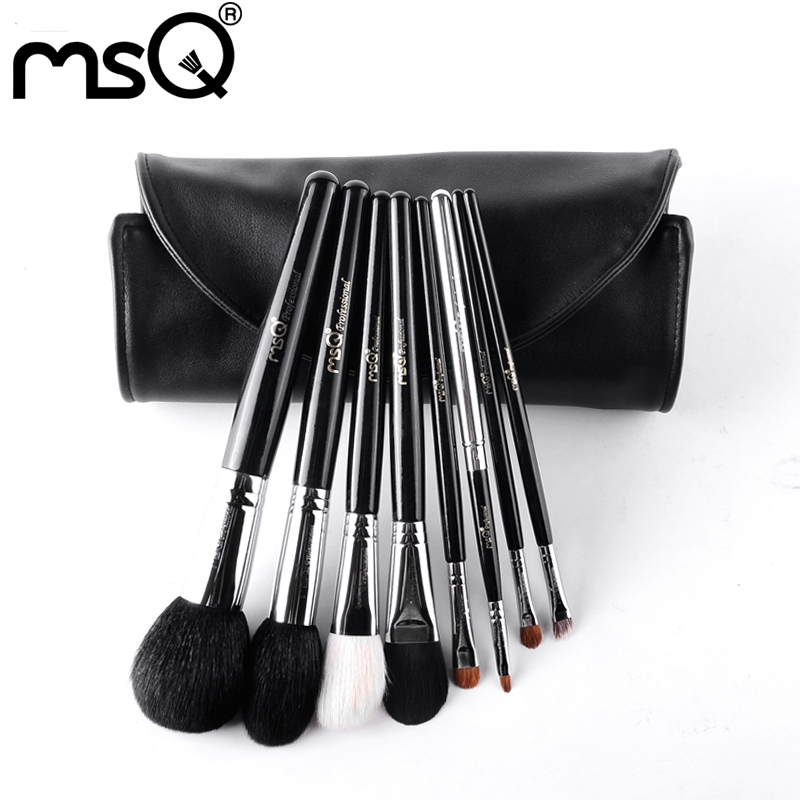 47.83$  Watch now - MSQ Makeup Brushes Set For Travel 8pcs Pro Soft Animal Hair Copper Ferrule Powder Eyeshadow Make Up Brush With PU Leather Case  #magazineonline