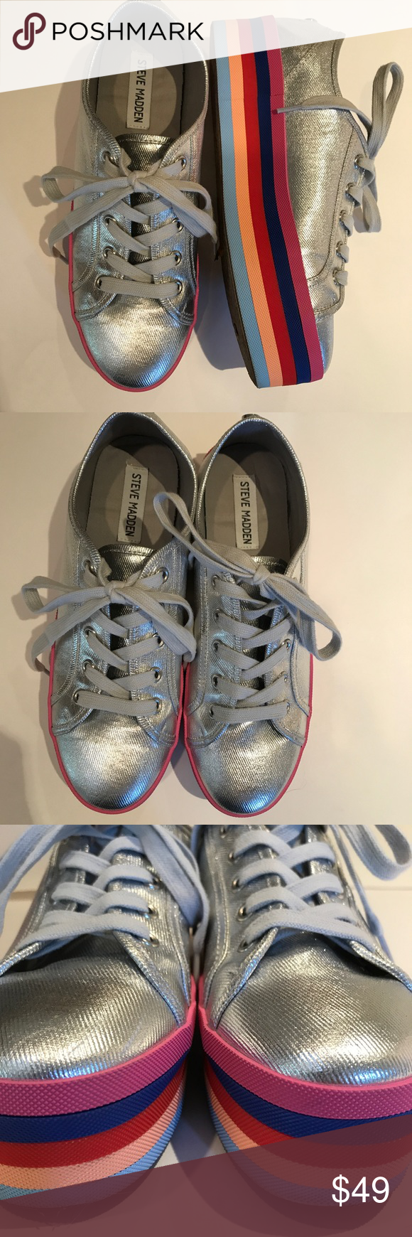 ed667014a46 Steve Madden rainbow platform silver sneakers 8.5 Adorbs and on trend! In  great condition-only worn 3 times. Steve Madden Shoes Sneakers