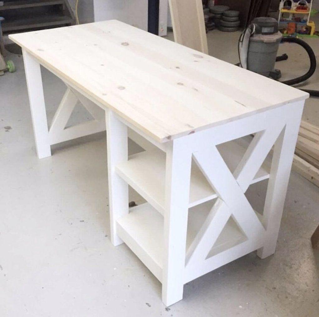 DIY Farmhouse X Desk for the Home Office #homeofficeideasdiy   Wood ...