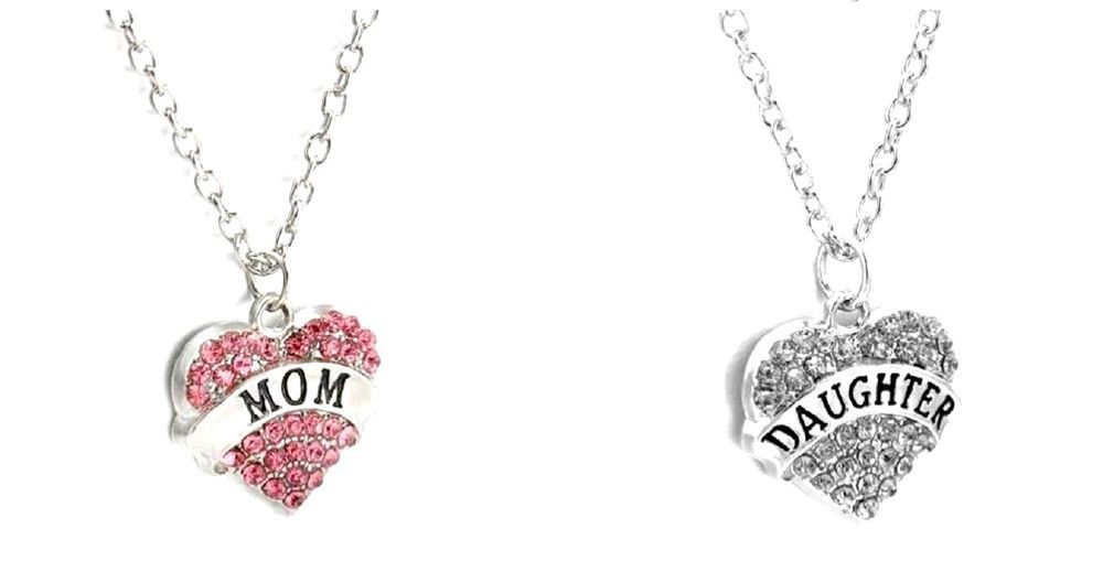 MOM & DAUGHTER Necklace Set 2 piece Crystal Heart Charm Jewelry Mothers Day Gift #Handmade #Pendant