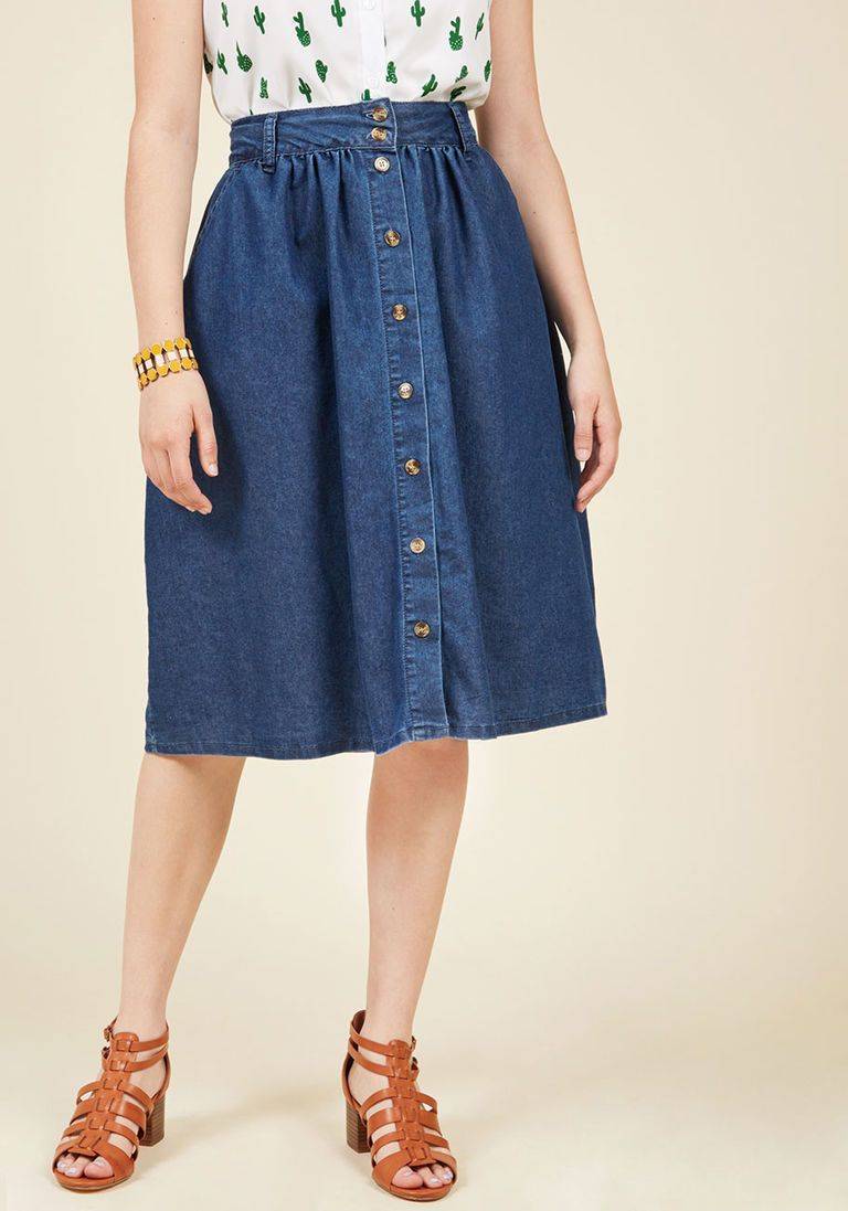 1667081fcff0a3 What Everyone Will Be Wearing This Fall, According to the Top Searched  Fashion Pieces. Marvelously Midi Denim Skirt in XXS - A-line Skirt Long by  ModCloth
