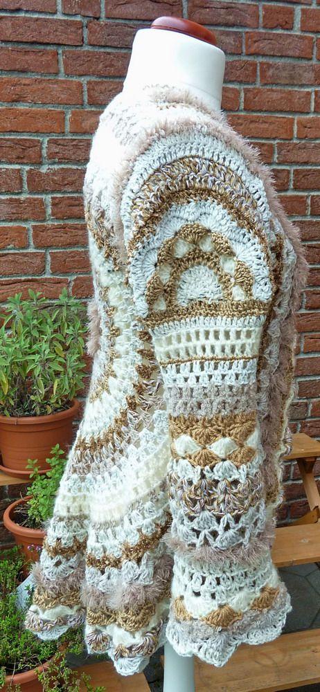 Circle crochet hippie, flower, Kreisjacke natur | häkeln | Pinterest