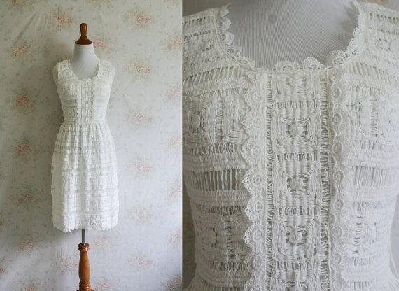 Vintage 60s Crochet Dress 1960s Lace Dress by WildwoodVintage