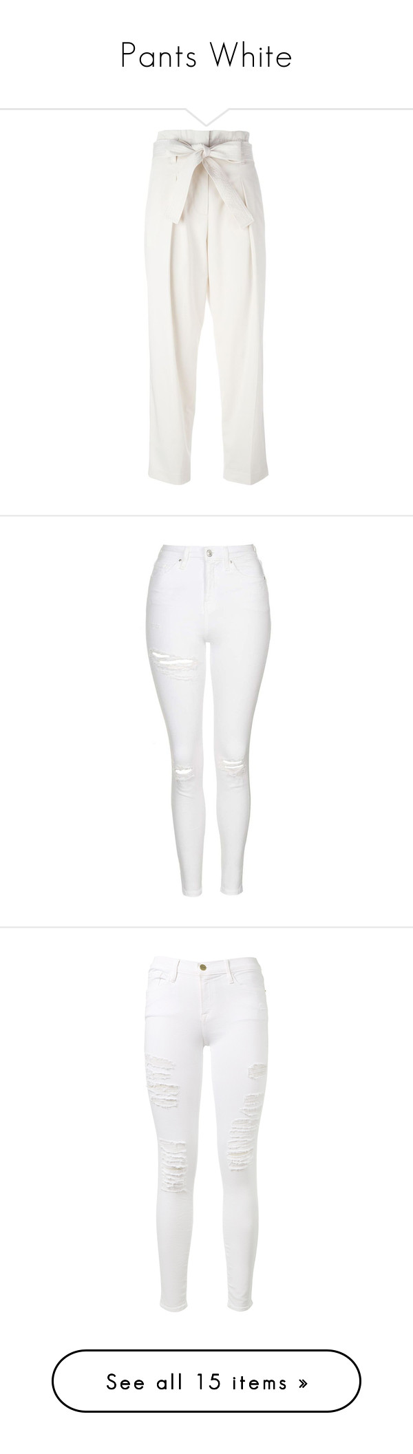 """""""Pants White"""" by sabrina-bento-1 ❤ liked on Polyvore featuring pants, capris, bottoms, high-waisted trousers, high waisted cropped pants, high-waisted pants, straight leg pants, pleated pants, jeans and ripped skinny jeans"""
