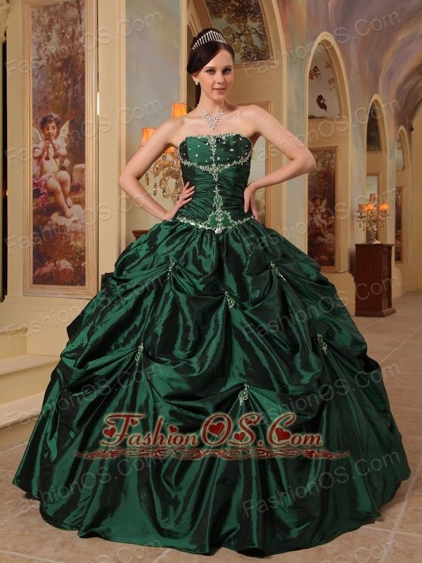 6b3e3bb19cb Latest Dark Green Quinceanera Dress Strapless Beading Taffeta Ball Gown
