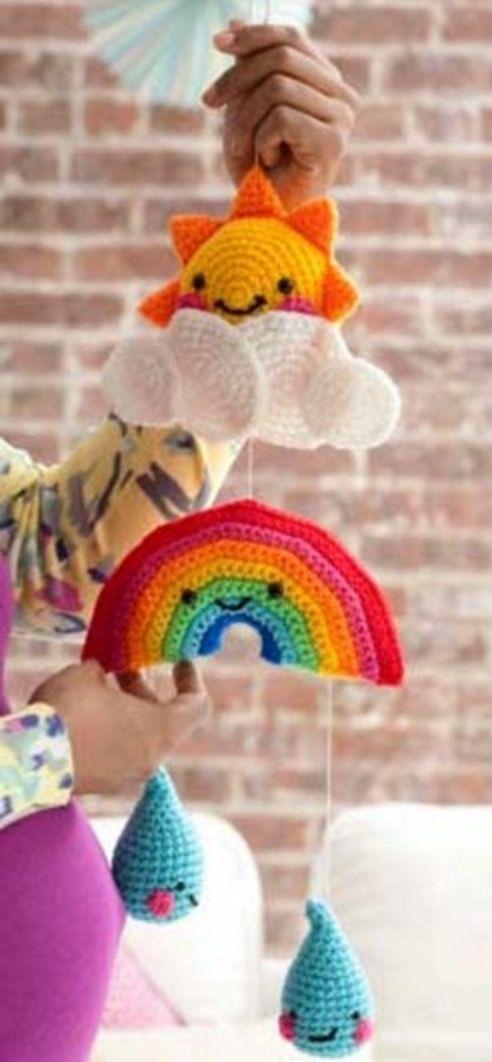 Crochet Rainbow Baby Mobile Free Pattern