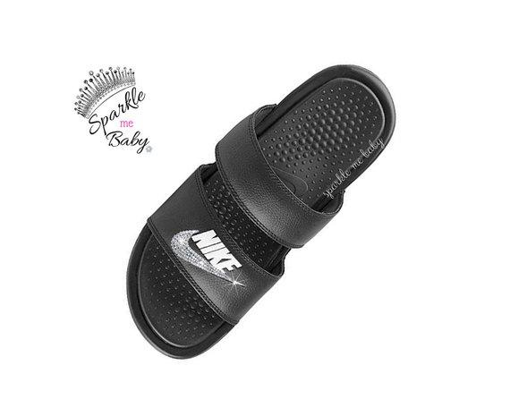 6d95ebe26 Nike Slide Women s - Nike Benassi Duo Black - Custom Slides - Bling Sandals  - Bedazzled Swarovski Ni