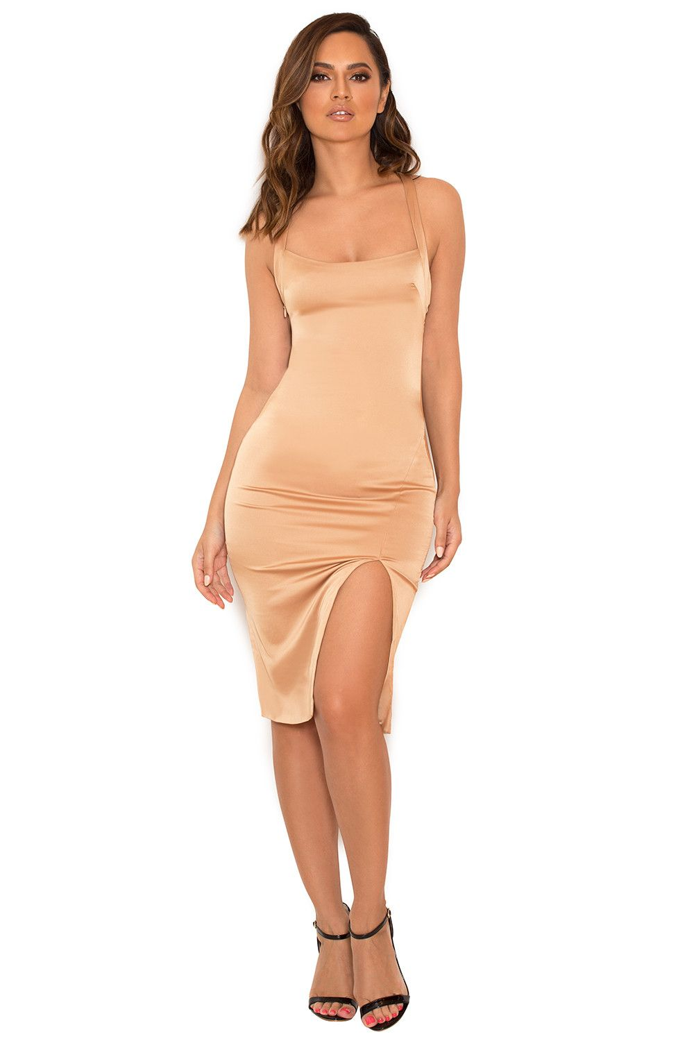Clothing bodycon dresses uessieu nude stretch satin thigh split