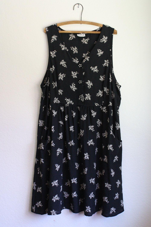 vintage 90s black floral rayon oversized // slouchy midi tank grunge dress. $28.00, via Etsy.