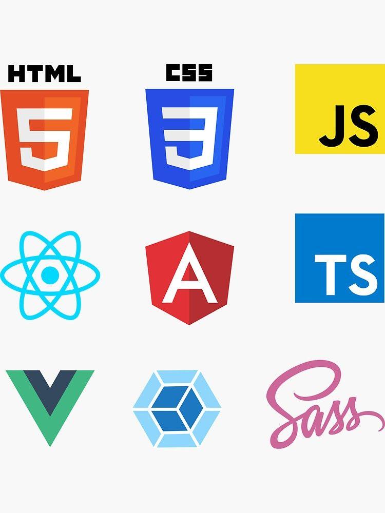 Front End Web Development Combo Pack Med Sticker By Devstick Redbubble Web Development Logo Web Design Training Web Development Design