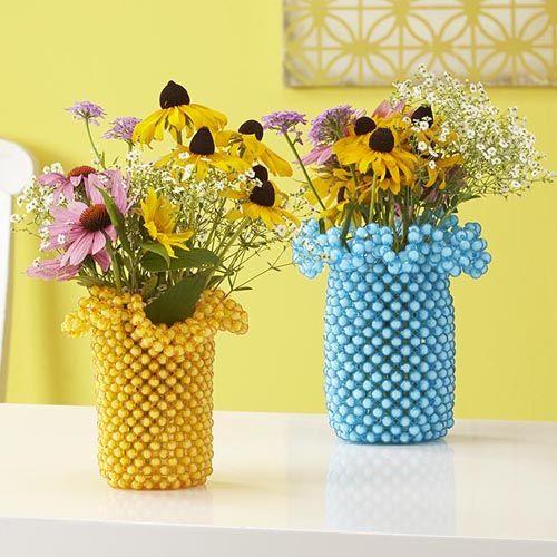 Frilly Jar Cover Bubble Bead Kit - Herrschners #spring #mason #ball #jar