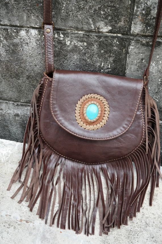brown leather bag hand bag purse with turquoise by MaLiGetDressed