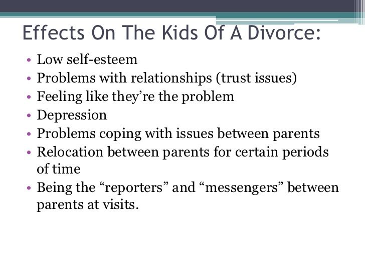effects of divorce on a child essay The negative effects of divorce on mental health operated indirectly through higher emotional problems and lower levels of school achievement and family economic status  given this startling figure, the assumption can be made that many child.