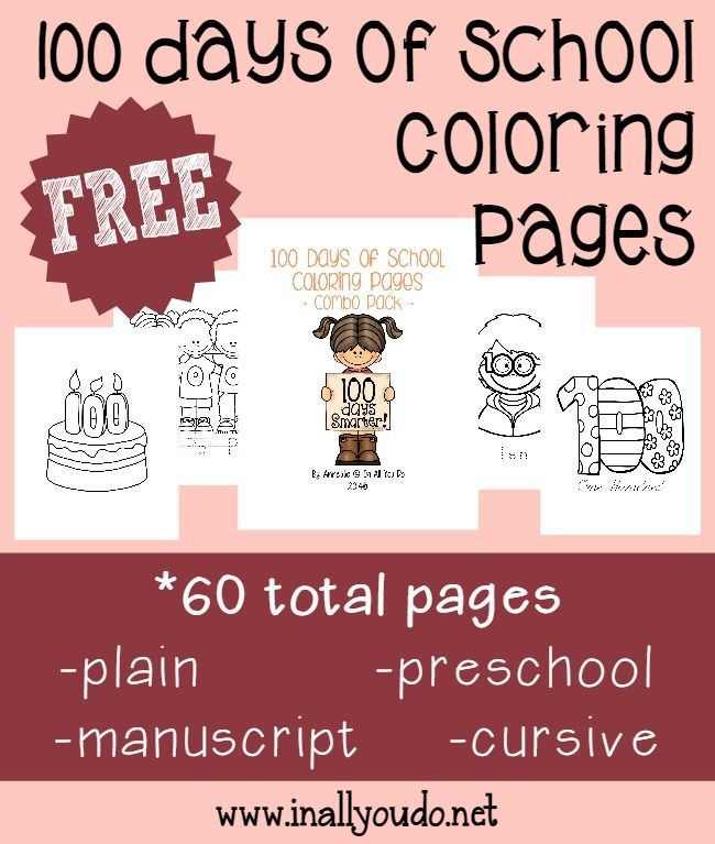 FREE 100 Days of School Coloring Pages {60 pages | education | Pinterest