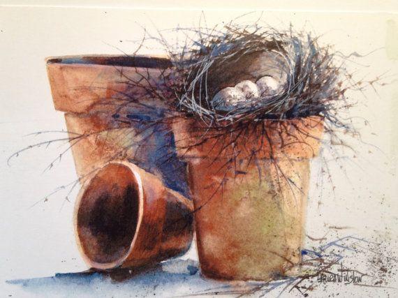 5 Original Watercolor bird nest Cards 5 1/2 x by WatercolorTales