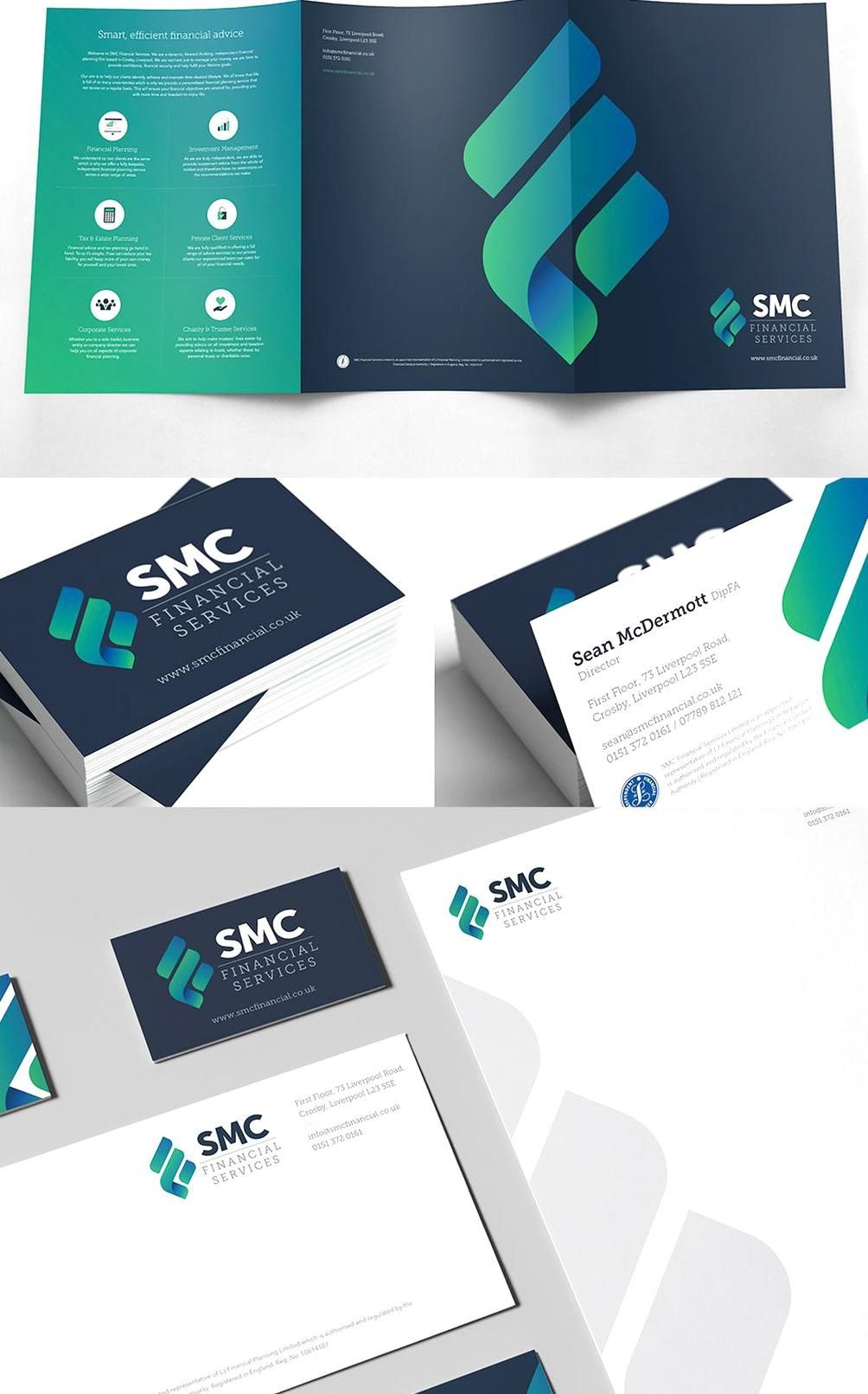 Brochure Business Card And Business Stationary Design For Smc Financial Services Branding Business Stationary Corporate Design Corporate Identity Inspiration