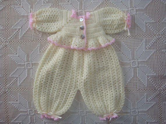 Reserved For Donna Baby Blue Crochet Newborn Romper
