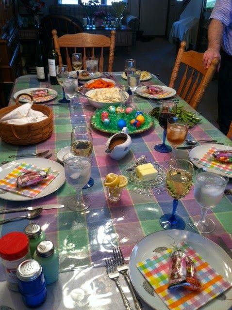 Springtime menu including ham, roasted vegetable, homemade bread, homemade carrot cake, etc.