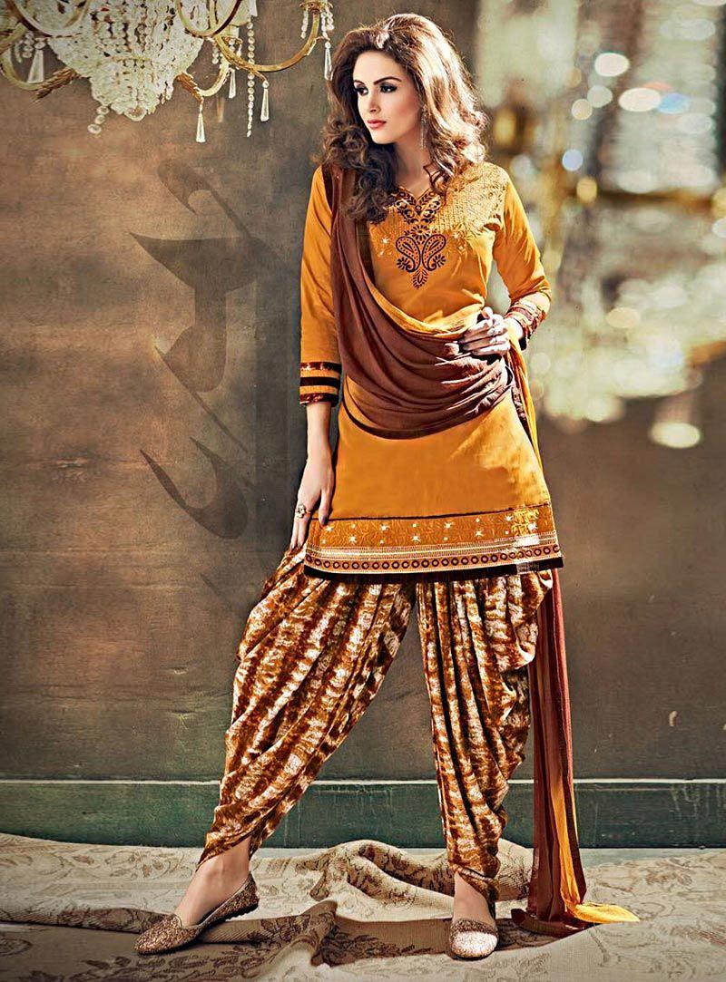 Mustard Satin Punjabi Suit 84750