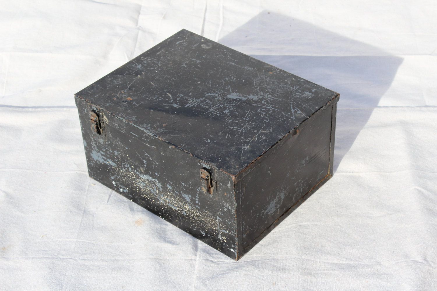 Heavy Antique Industrial Metal Box With Compartments Metal Storage Box  Stash Memory Box By Itzvintagedarling On