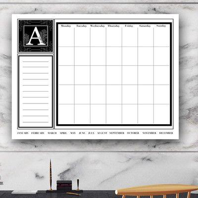 Ready2hangart Dry Erase Monthly Calendar Memo Board Letter Letter T