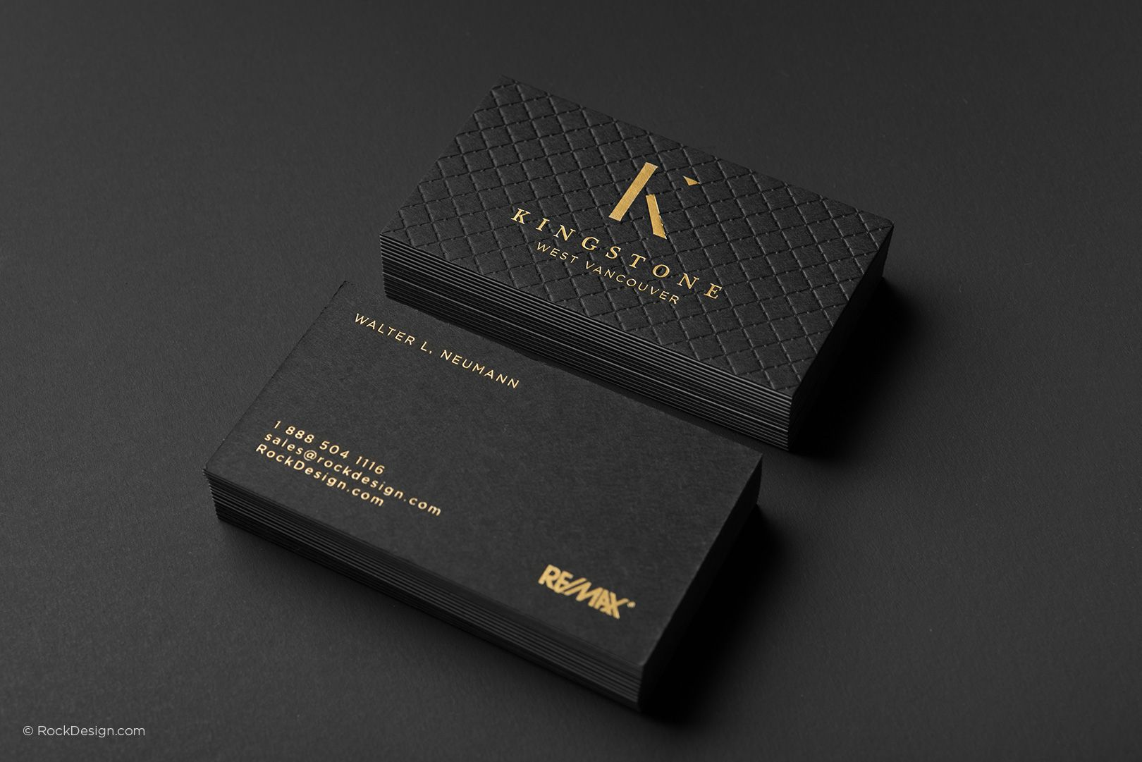 Luxury realtor triplex with gold foil business card template ...