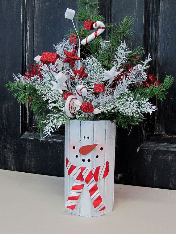 Winter Wreath SALE - Snowman Centerpiece - Christmas Decorations