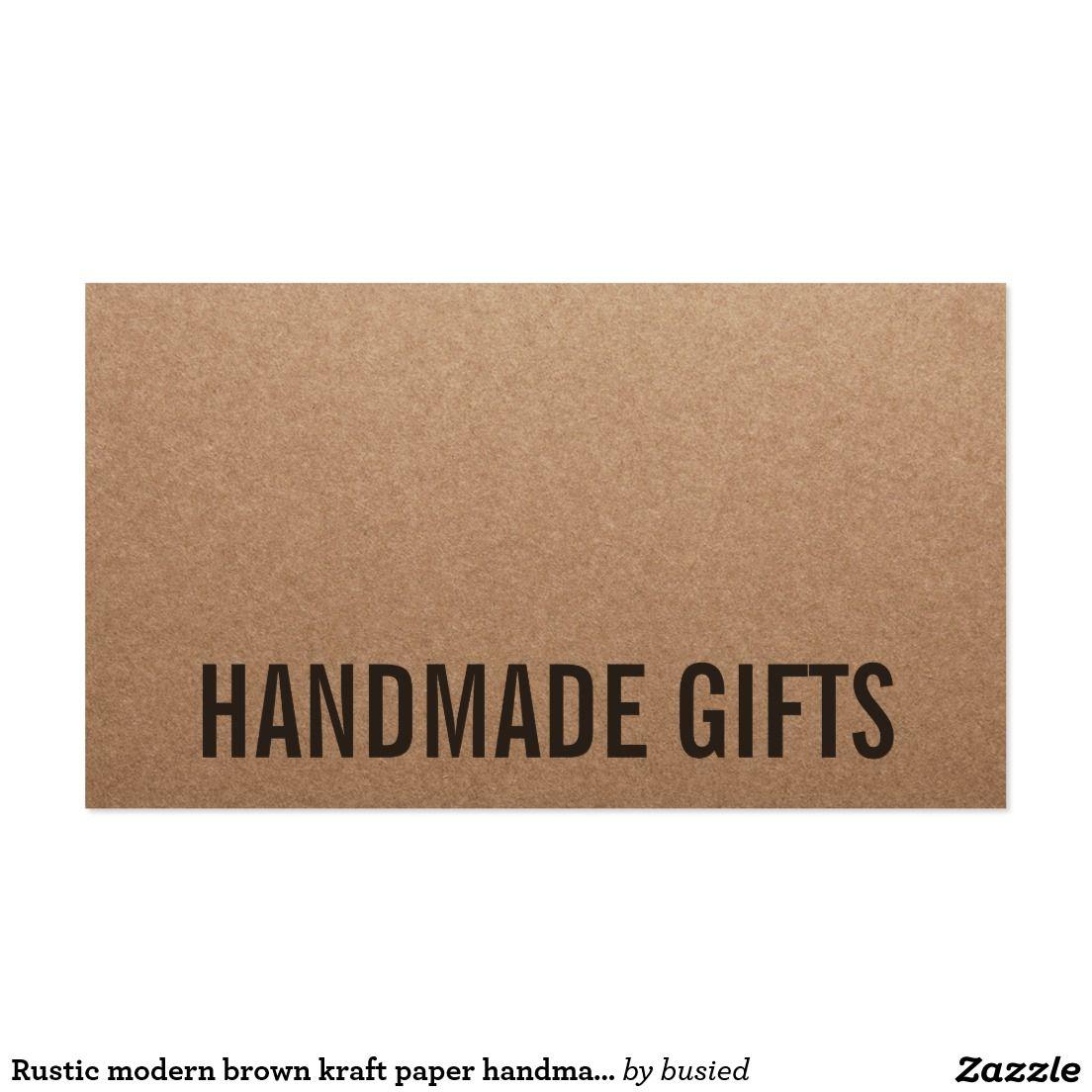 Rustic modern brown kraft paper handmade cardboard business card ...