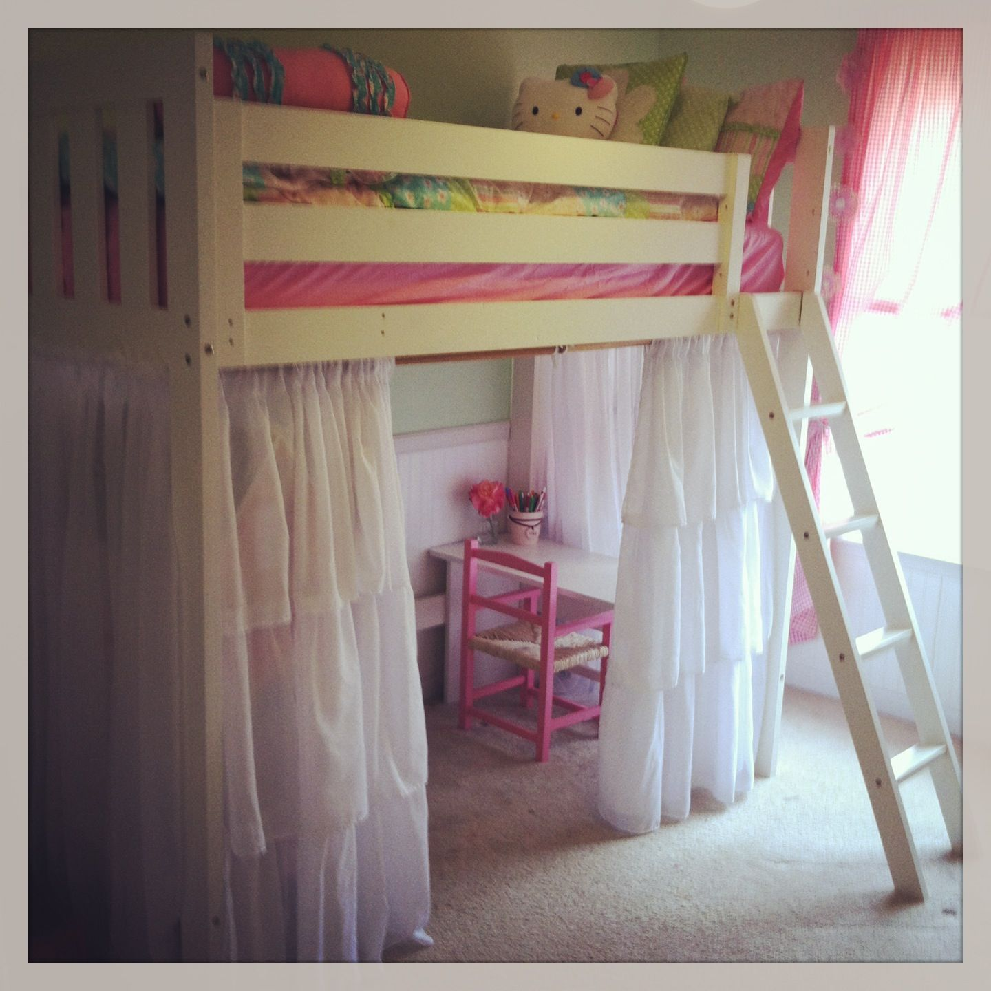 Pin By Kelly Rock Kulick On For The Home Girls Loft Bed Loft Bed Curtains Loft Bed