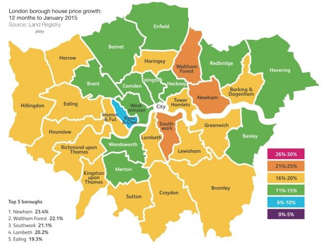 Chestertons - London borough house price growth map - March