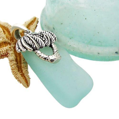 Sea Charmed -Large Aqua Genuine Sea Glass With Palm Trees