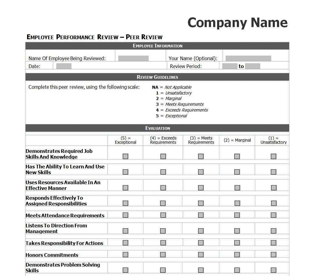 Employee Performance Review Template Excel Evaluation Employee Performance Evaluation Performance Reviews