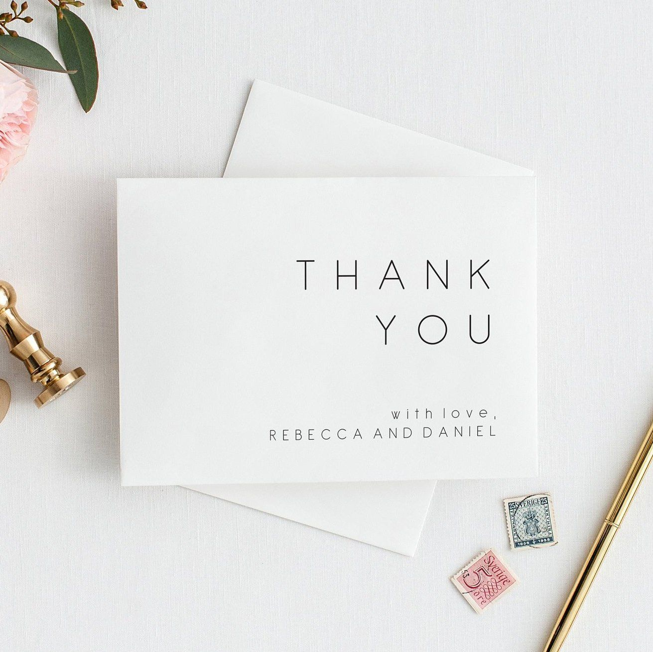 Thank You Cards Template NINA Modern Minimalist Thanks Card Printable Wedding or Bridal Shower Thank You Notes Folded and Flat